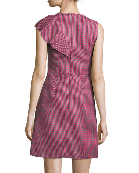 Sleeveless Ruffle Plaid A-Line Wool Dress