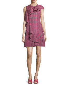 Sleeveless Ruffle Plaid A-Line Wool Dress