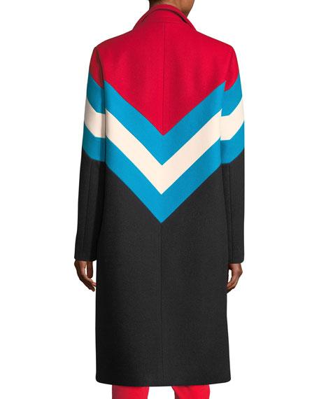 Chevron Snap-Front Wool-Knit Overcoat
