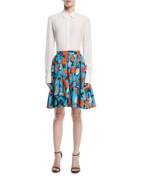 Floral-Print Ruffled Poplin Skirt