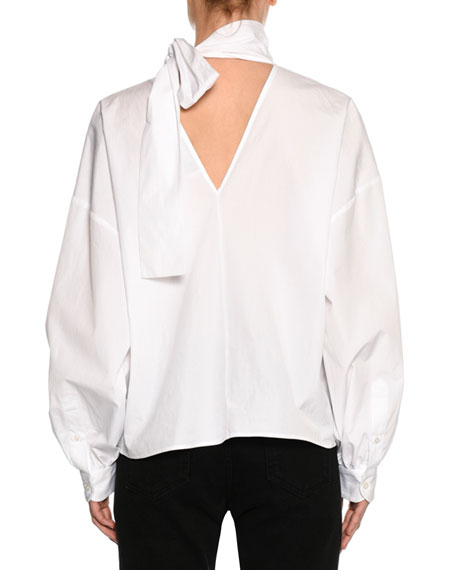 Poplin Long-Sleeve Tie-Neck Blouse, White