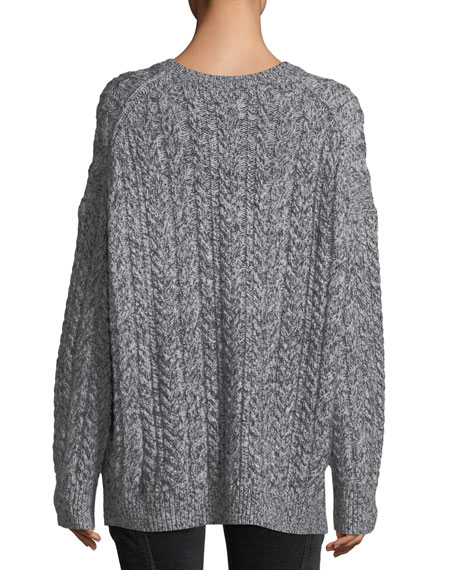 Vince Oversized Cable Knit V Neck Sweater
