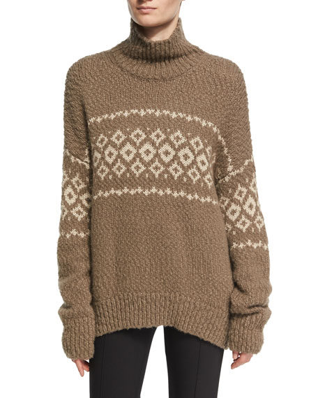 Vince Fair Isle Turtleneck Pullover Sweater, Brown