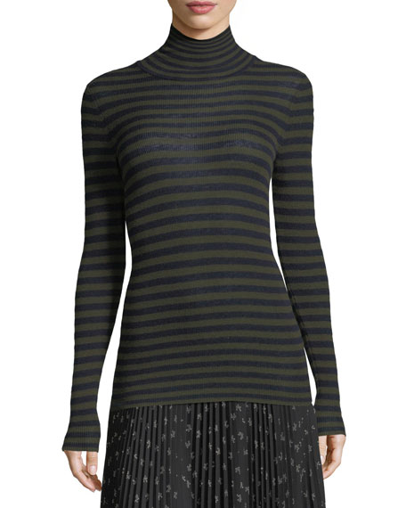 Striped Skinny-Rib Turtleneck Cashmere Sweater