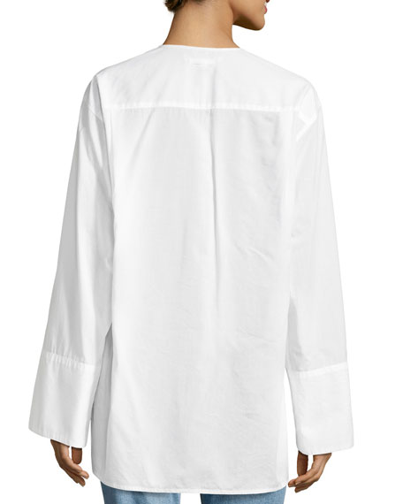 Sage Poplin Long-Sleeve Panel Top