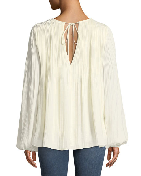 Grove Long-Sleeve Pleated Blouse