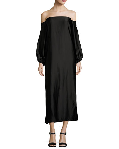 Malta Off-the-Shoulder Long-Sleeve Maxi Dress w/ Side Slit