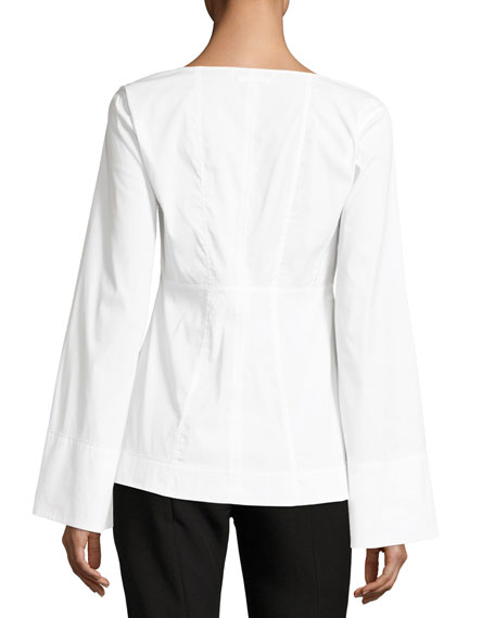 Carlos Wide-Sleeve Circle-Neckline Poplin Top