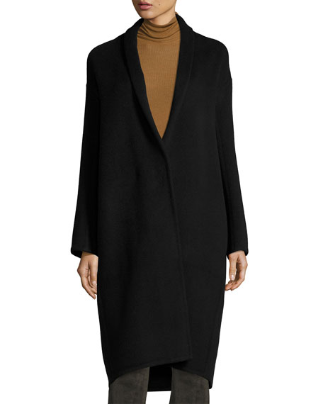 High-Collar Crossover-Front Wool Top Coat