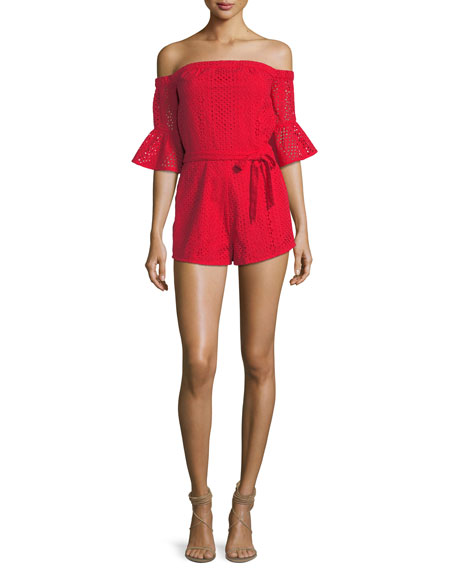Kittridge Off-the-Shoulder Eyelet Romper