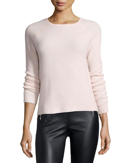 Karina Waffle-Knit Long-Sleeve Cashmere Sweater