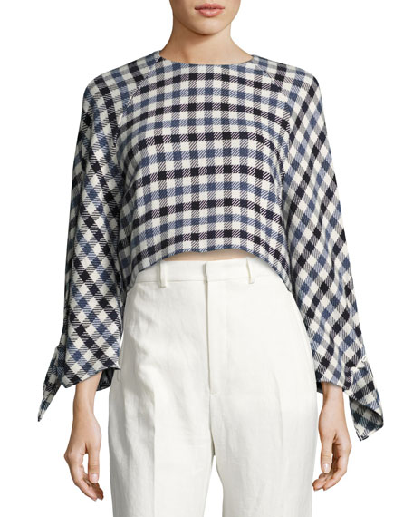 Fairfax Gingham Tie-Sleeve Top
