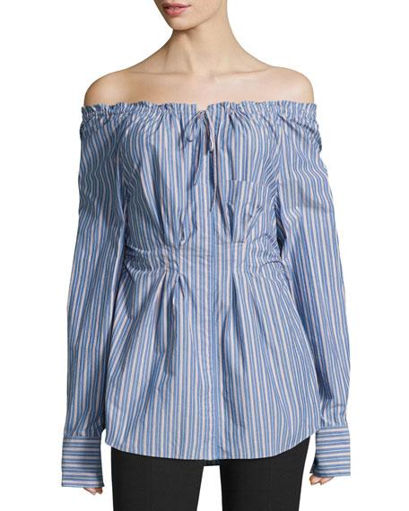 Garcon Off-the-Shoulder Striped Shirred Poplin Top