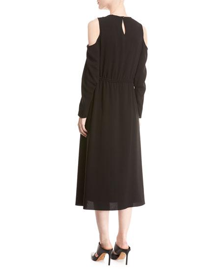 Sav Crepe Cold-Shoulder Midi Dress