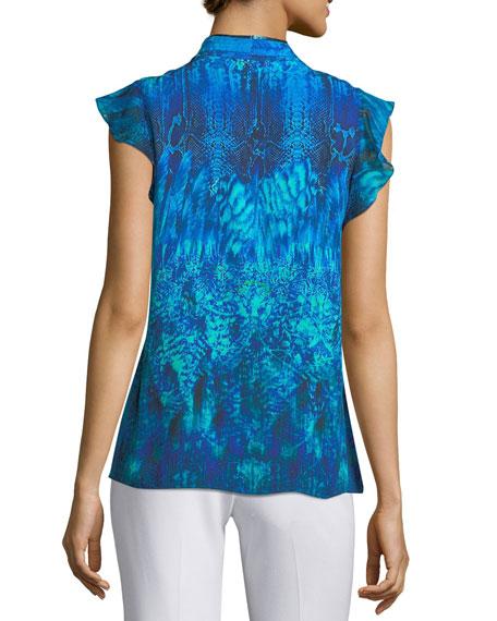 Judith Flutter-Sleeve Printed Silk Blouse