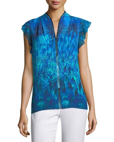 cedf0f320ff014 Elie Tahari Judith Flutter-Sleeve Printed Silk Blouse