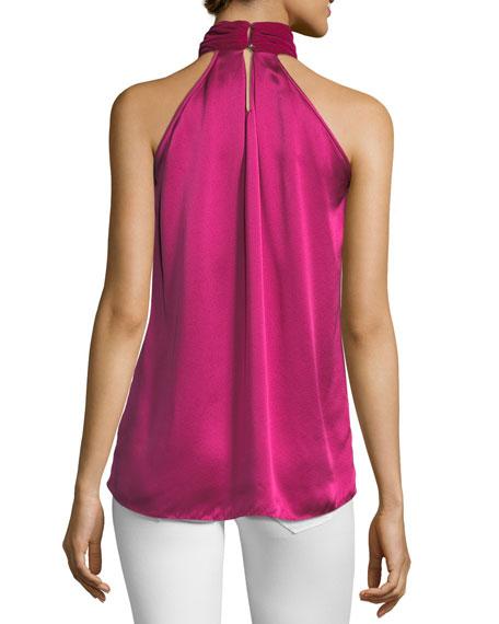 Elastia Sleeveless Velvet-Trim High-Neck Silk Blouse