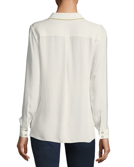 Yvette Long-Sleeve Snap-Front Silk Blouse