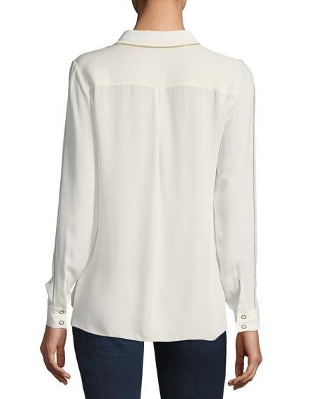 Yvette Long-Sleeve Snap-Front Silk Blouse