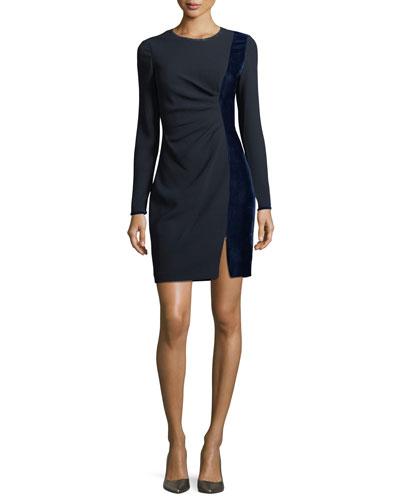Clarette Long-Sleeve Ruched Velvet-Trim Sheath Dress