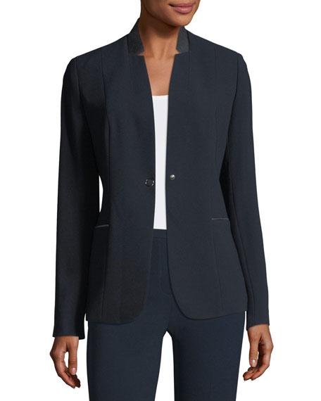 Tori Leather-Trimmed Crepe Blazer Jacket