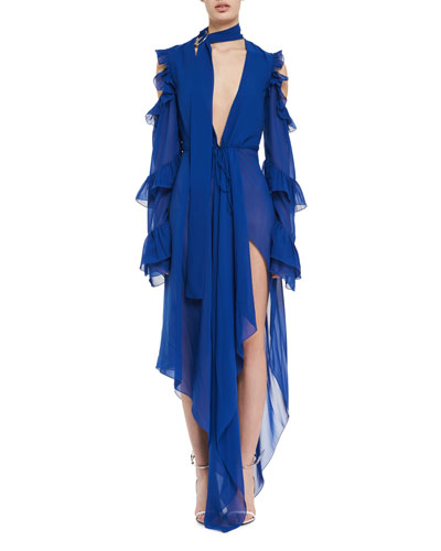 Plunging Long-Sleeve Chiffon Maxi Dress
