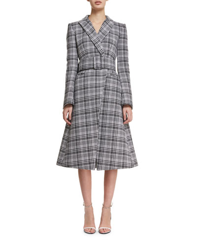 Plaid A-Line Wrap Coat
