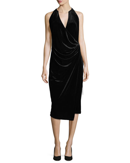 Belecia Sleeveless Faux-Wrap Velvet Dress, Black