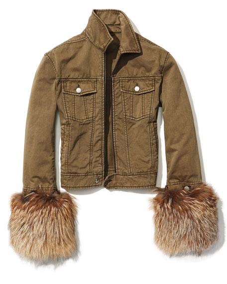 Ameerah Fur Cuffs Bomber Jacket