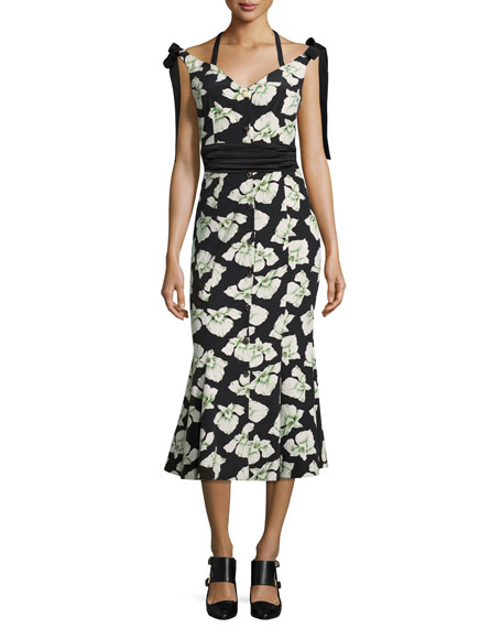 Blakely Floral-Print Mermaid Midi Dress, Black Multi