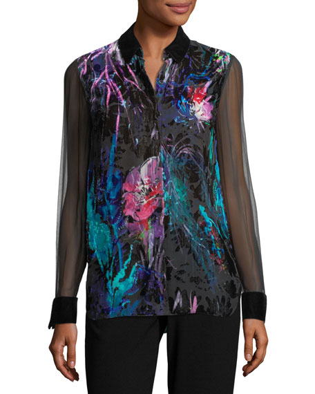 Martha Long-Sleeve Floral Velvet Blouse