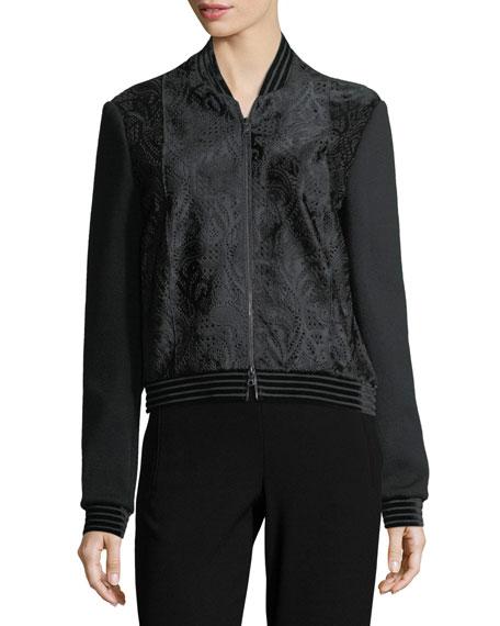 Brandy Velvet-Trim Calf Hair Bomber Jacket
