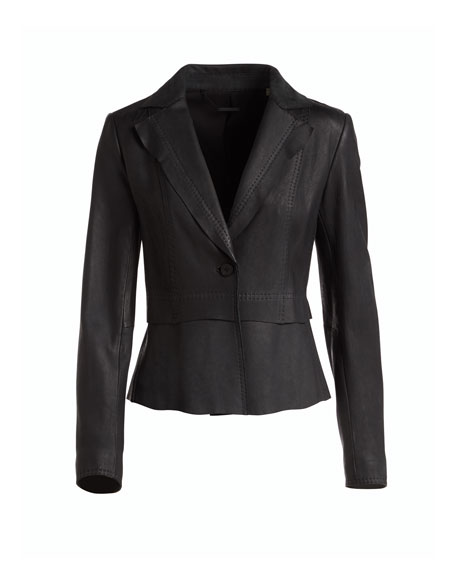 Sally Topstitched Leather Jacket