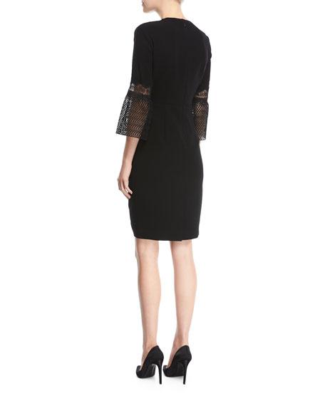Shaheena 3/4-Sleeve Lace-Trim Dress