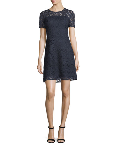 Ophelia Short-Sleeve Starry Lace Dress