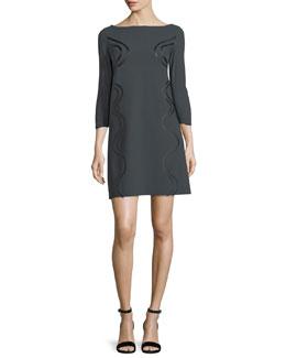 Elfrida Boat-Neck 3/4 Sleeves Dress w/ Faux-Leather Trim