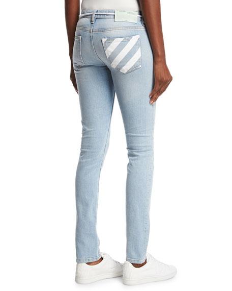 Diagonal-Striped Denim Jeans