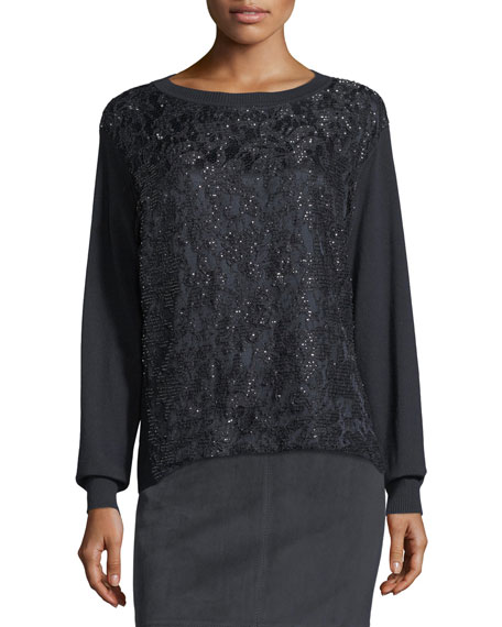 Long-Sleeve Sequined Lace Top