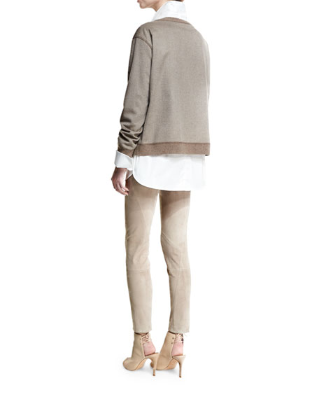 Patchwork Calf Hair Pullover Top