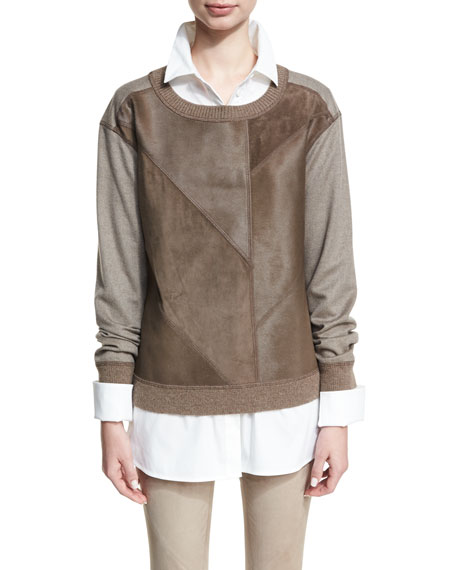 Lafayette 148 New York Patchwork Calf Hair Pullover