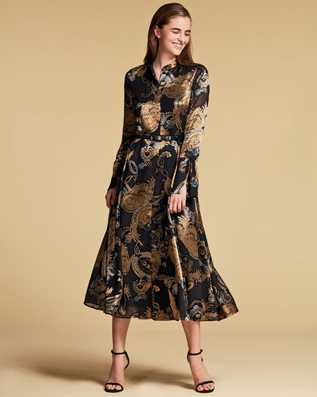 Leandra Devore Velvet Midi Dress
