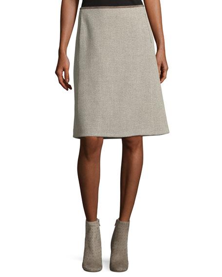 Coralyn Herringbone Wool Skirt