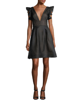 Flutter-Sleeve Striped Neoprene Cocktail Dress