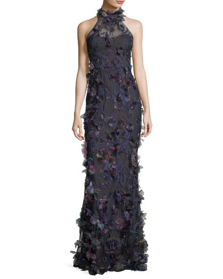 Marchesa Notte 3D Petal-Embellished Halter Gown