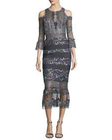 f2595de0 Marchesa Notte Metallic Lace Cold-Shoulder Cocktail Dress