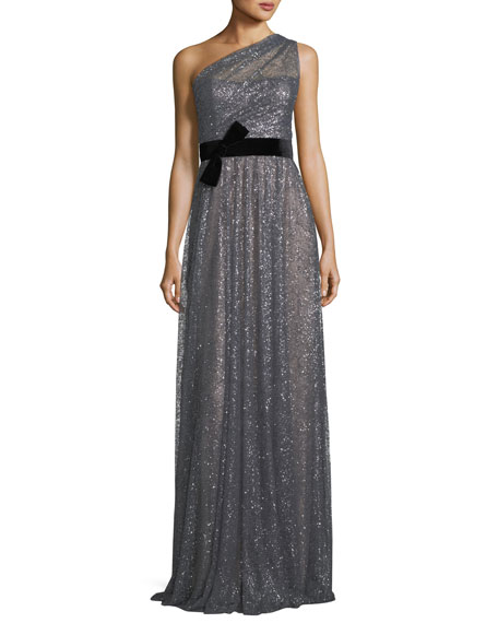 9e1bf2e69fd Marchesa Notte One-Shoulder Glitter Tulle Gown