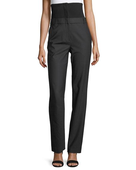 Straight-Leg Wool-Blend Corset Pants