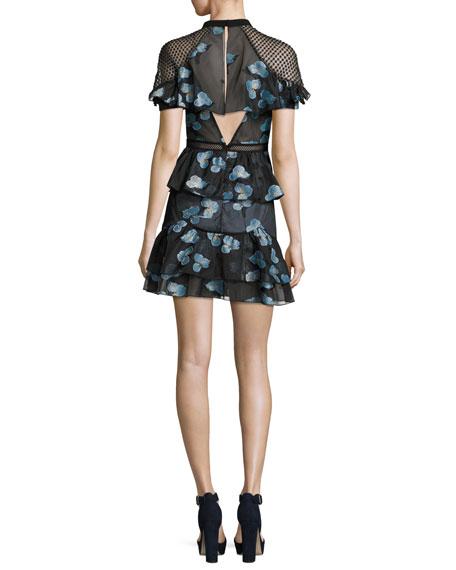 Fil Coupé Open-Back Cape Mini Cocktail Dress