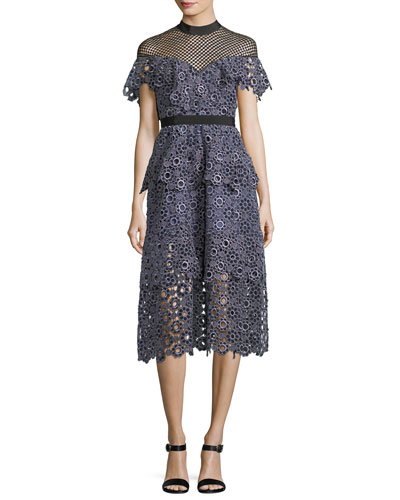 Yoke Frill Lace-Guipure Midi Cocktail Dress
