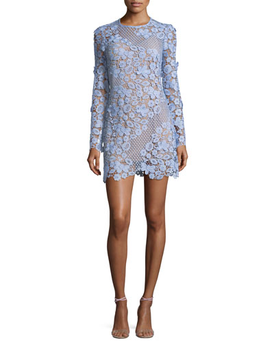 3D Floral Guipure Lace Mini Cocktail Dress